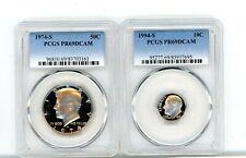 1974-S Proof Kennedy half dollar & 1974 S proof dime (PCGS PR69DCAM)