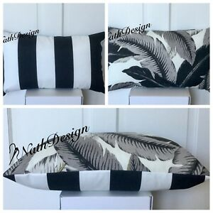 Tommy Bahama Outdoor Lumbar Black/Grey/White - Palm/Stripes Cushion Cover
