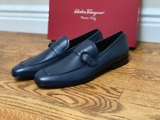 Ferragamo Gancini Bit Loafers FARUK Men's Navy Blue Leather Casual Shoes 10D