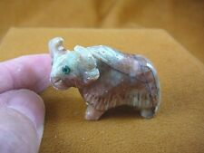 (Y-WAT-6) white red River WATER BUFFALO YAK carving SOAPSTONE PERU FIGURINE aceh