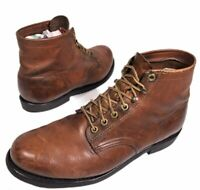 """Vtg 60's Herman Men's Brown Leather Lace Up 6"""" Ankle Motorcycle Work Boots 10 D"""