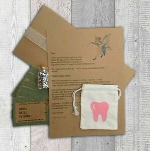 Tooth Fairy Coin Bag, Personalised Letter, Tooth Receipts Fairy Glitter Keepsake
