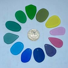 "12 pc 1"" Freeform Sea Glass Beads Tumbled Jewelry Necklace Pendant Decor JCT ECO"