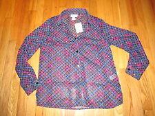 Women's The TOG Shop Multi Color Semi Sheer Button Long Sleeve Shirt 10 NWOT