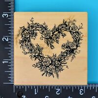 PSX Rose Heart Vine Wreath Roses G-553 Wood Mounted Rubber Stamp 1993