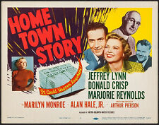 """Poster Home Town Story Title Lobby Card 1951 11""""x14"""" VF 7.5 Marilyn Monroe"""