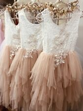 Apricot Champagne Applique Open Back Tulle Tutu Flower Girl Occasion Dress