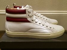 700$ Bally White Heaven Leather High Tops Sneakers size US 10