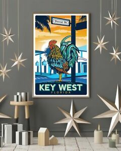 """Vintage Travel Key West Rooster Vertical Vintage Home Wall Poster (No Framed)"
