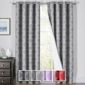 Alana Thermal Insulated Blackout Grommet Jacquard Window Curtain Panels Set