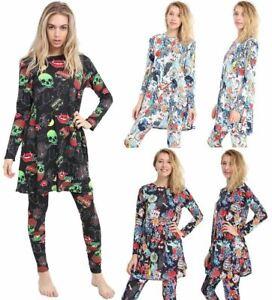 Ladies Halloween Long Sleeve Black Trick & Treat Print Swing Dress + Leggings
