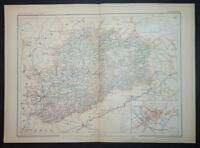 1901 ANTIQUE PRINT COLOUR MAP of HAUTE-SAONE France FRENCH Carte