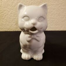 """New listing Adorable Vintage White Ceramic Cat Creamer~4 1/2"""" Tall~Excellent Used Condition"""