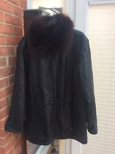 MARC NEW YORK ANDREW MARC fabulous black heavy weight LEATHER coat Large