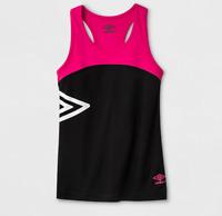 NEW Umbro Girls' Performance Tank Top - Pink/Black Size S (6/6X)