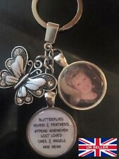 Personalised Photo Keyring - Memorial In Memory of Bereavement Butterfly Gift