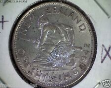 RARE 1 Shilling 1942 New Zealand Silver Coin, Key Date / 240 K + 9 FREE BONUSES