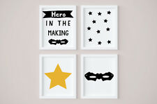 Set of 4 Little Hero Yellow Star Kids Room Nursery Wall Art Prints Black & White