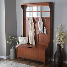 Cherry Entryway Full Hall Tree Coat Rack Stand Home Furniture Storage Bench