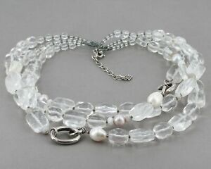 """Retired Silpada """"White Heat"""" Necklace Chunky 3 Strand Sterling Glass Pearl N1789"""