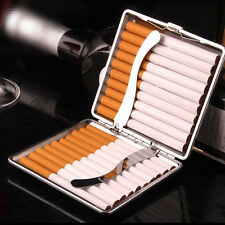 1pc Man's Black Leather PU Metal Tobacco 20 Cigarette Case Box Holder Storage AU
