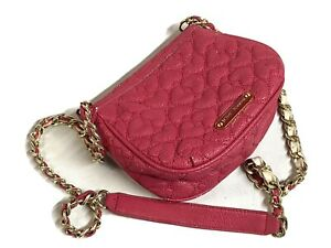 Betsey Johnson Pink Heart Crossbody Bag Purse Quilted Heart Handbag Gold Chain