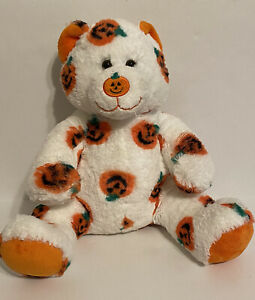 "Build A Bear Jack-O-Lantern Pumpkin Bear White Orange Plush Halloween 16"" READ"