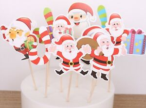 Christmas Xmas Baking Cup Cakes Muffins Picks Party Topper Decoration Sign Decor