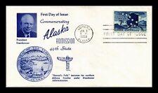 DR JIM STAMPS US ALASKA STATEHOOD AIR MAIL FDC COVER EISENHOWER UNSEALED C53