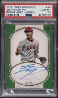 2018 Topps Definitive Green Shohei Ohtani ROOKIE RC AUTO /25 #SO PSA 10 GEM MINT