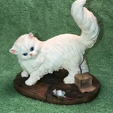 New listing Nice, Heavy Piece - White Persian Cat W/ Mouse Figurine