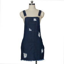 Women Denim Jean Ripped Vintage Mini Suspender Skirt Dungaree Dress Overalls