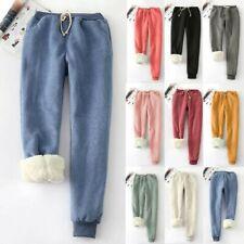 Women's Winter Casual Leggings Solid Color Fleece Lined Long Pants Loose Trouser