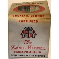 "Vintage Matchbook The Zane Hotel Zanesville Ohio White Red Black ""New Fireproof"""