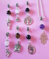"gemstone pendant charm necklace 20"" silver plated chain Buddha unicorn angel ohm"