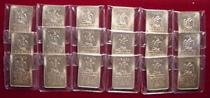 Lot of 100 1 Troy oz Mexico's Silver Standard Alloy Bars Silver & Gold Toned