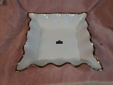 """NEW 12"""" X 12"""" 10 STRAWBERRY STREET GOLD TRIMMED SERVING DISH SCALLOPED EDGE"""