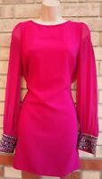 WAREHOUSE MAGENTA PINK BEADED LONG SLEEVE COWL BACK SHIFT PARTY DRESS 8 S