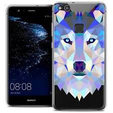 "Coque Housse Etui Pour Huawei P10 LITE (5.2"") Polygon Animal Souple Fin Loup"