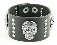 Women's Black Sugar Skull Leather Bracelet USA Seller!