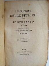 """LIBRO ANTICO BROSSURE D'EPOCA DECORATA """"DESCRIZIONE PITTURE CAMPO SANTO DI PISA"""""""