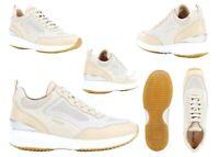Scarpe da donna sportive Geox 08514 sneaker in pelle beige casual comode basse