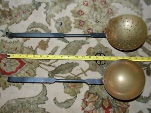 2-antique fireplace ladles  hand forged iron  handles /brass spoons