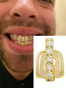 14k Gold Over SOLID 925 Silver Gap Grillz Single Tooth Hip Hop Grill Cap Iced
