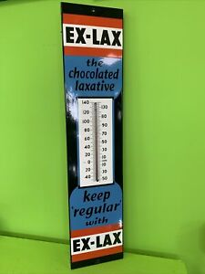 Ex-Lax Advertising Thermometer Porcelain Original Working Sign