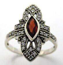Ring  Granat & Zirkonia  925  Sterling Silber  Antik Style   Größe 54
