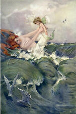 MERMAID MOTHER WATER BABY SIREN SEA FANTASY VINTAGE CANVAS ART PRINT LARGE