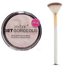 Technic Get Gorgeous Highlighting Powder 12g + Small Gold/Gray Fan Makeup Brush