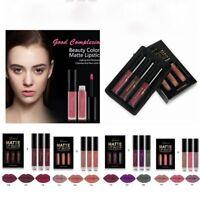 3PCS Set Long Lasting Makeup Cosmetic Tool Lipstick Kit Matte Liquid Lip Gloss