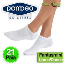 3 Paia Mini Calze Fantasmini Pompea Uomo Donna 35-38 39-42 43-46 47-49 Blu 43/46